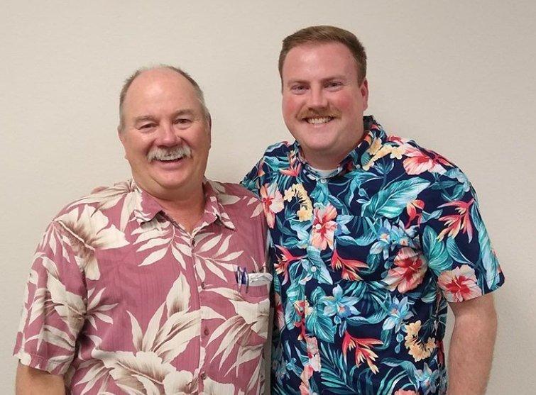 Landmark EPC employees in Hawaiian shirts